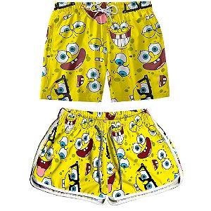 Kit Shorts Casal Masculino e Feminino Bob Esponja Amarelo Use Thuco