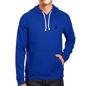 Moletom Masculino Capuz Bolso Canguro Básico Azul Rei
