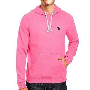 Moletom Masculino Capuz Bolso Canguro Básico Rosa Neon Rei