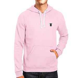 Moletom Masculino Capuz Bolso Canguro Básico Rosa Bebe Rei