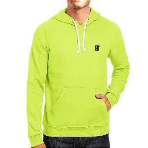 Moletom Masculino Capuz Bolso Canguro Básico Verde Neon Rei