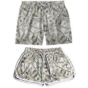 Kit Casal Dois Shorts de Praia Masculino e Feminino Dolar Use Thuco
