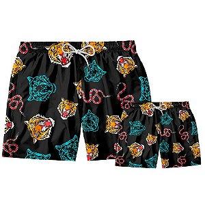 Kit Shorts Pai e Filho Tigre Cobra Use Thuco