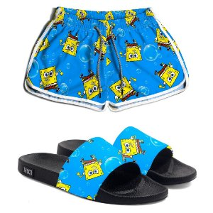 Kit Short e Chinelo Feminino Bob Esponja Use Thuco