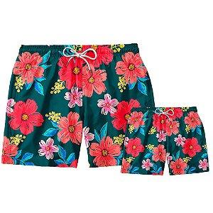 Kit Short Pai e Filho Floral Use Thuco.