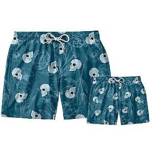 Kit Shorts Pai e Filho Caveira & Rosa Use Thuco