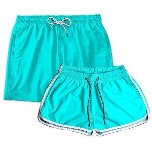 Kit Shorts Casal Masculino e Feminino Azul Piscina Use Thuco