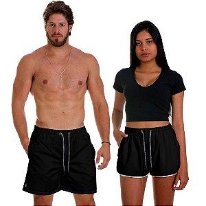 Kit Casal Dois Shorts de Praia Masculino e Feminino Preto Use Thuco
