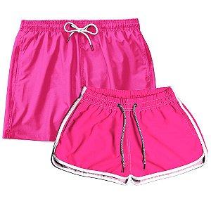 Kit Shorts Casal Masculino e Feminino Rosa Bebê Use Thuco
