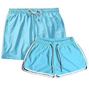 Kit Shorts Casal Masculino e Feminino Azul Bebê Use Thuco
