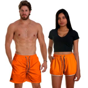 Kit Casal Dois Shorts de Praia Masculino e Feminino Laranja Use Thuco