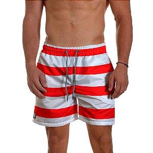 Short de Praia Masculino Listras Vermelho Use Thuco