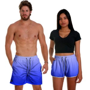 Kit Shorts Casal Masculino e Feminino Azul Degrade Use Thuco