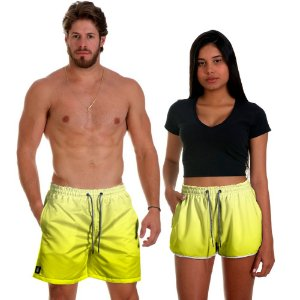Kit Shorts Casal Masculino e Feminino Amarelo Degrade Use Thuco