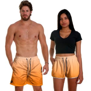 Kit Shorts Casal Masculino e Feminino Laranja Degrade Use Thuco