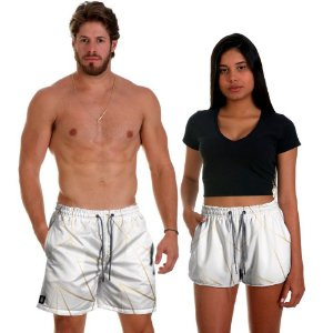 Kit Short Casal Use Thuco Branco Réveillon Gold