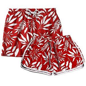 Kit Casal Short Praia Use Thuco Folhagem Branco e Vermelho