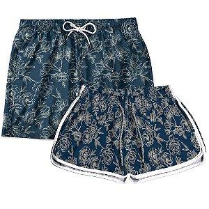 Kit Casal Short Praia Use Thuco Floral Azul Marinho