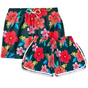Kit Casal Short Praia Use Thuco Floral Cancún