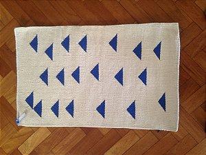 Tapete Triangulos Azul/Cru