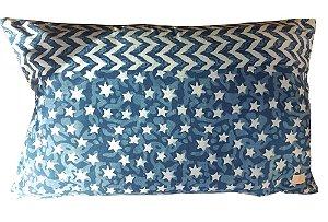 Almofada Azul Estrelinhas H 35 x 55cm