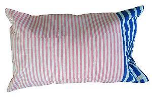 Capa de Almofada Listrada Azul/Cru/Rosa 35 x 55cm