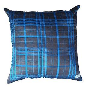 Almofada Xadrez Marrom e Azul 40 x 40cm