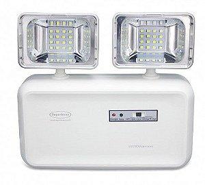 Iluminação emergência LED 600 lumens 2 faróis com bateria selada Segurimax