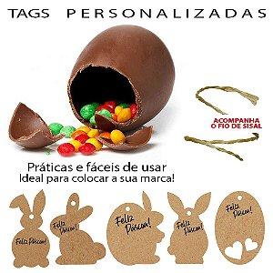 Tags Coelhinhos para Páscoa Personalizada em Kraft ou Color Plus