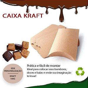 Caixa De Presente Em Kraft Travesseiro 50 Peças 11.5x6,8cm