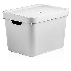 Caixa Cube Média Com Tampa 18L Branco - Ou
