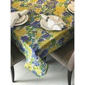 Toalha de Mesa em Gorgurinho Floral Amarelo, Azul e Verde