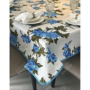 Toalha de Mesa em Gorgurinho Floral Azul