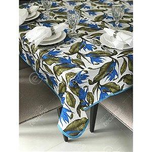 Toalha de Mesa em Gorgurinho Floral Azul e Verde
