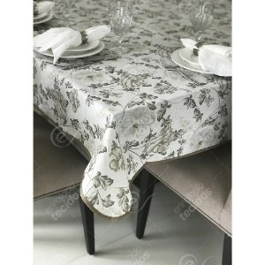 Toalha de Mesa em Gorgurinho Floral Cinza