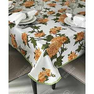 Toalha de Mesa em Gorgurinho Floral Laranja