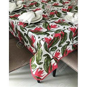 Toalha de Mesa em Gorgurinho Floral Verde e Vermelho
