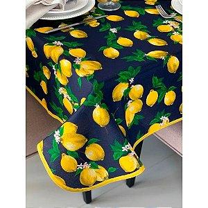 Toalha de Mesa em Gorgurinho Limão Siciliano Fundo Marinho