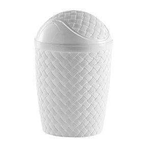 Lixeira Rattan 7,8 Litros Basculante Branco