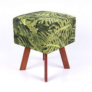 Puff Quadrado Em Jacquard Estampado Floral Costela De Adão Verde