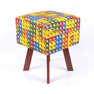 Puff Quadrado em Jacquard Estampado Lego