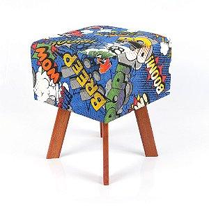 Puff Quadrado em Jacquard Estampado Super Heróis Azul