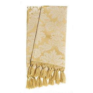 Manta para sofá em Tecido Jacquard Dourado Medalhão
