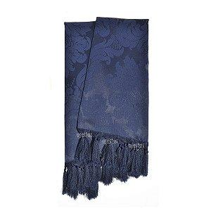 Manta Para Sofá Em Tecido Jacquard Azul Marinho Medalhão