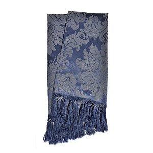 Manta para sofá em Tecido Jacquard Azul Marinho e Cru Medalhão
