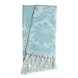 Manta para sofá em Tecido Jacquard Azul e Prata Frozen Medalhão