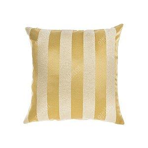 Capa para Almofada em Tecido Jacquard Dourado Listrado