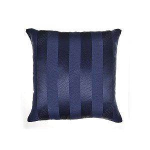Capa para Almofada em Tecido Jacquard Azul Marinho Listrado