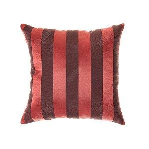 Capa para Almofada em Tecido Jacquard Vermelho e Preto Listrado