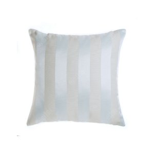 Capa para Almofada em Tecido Jacquard Bege e Prata Azulado Listrado